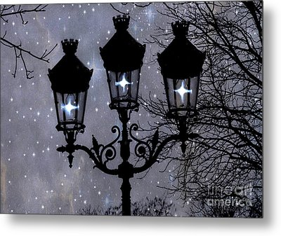 Paris Street Lights Lanterns - Paris Starry Night Dreamy Surreal Starlit Night Street Lamps Of Paris Metal Print by Kathy Fornal