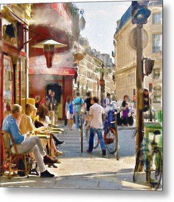 Paris Streetscape Watercolor Metal Print