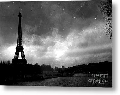 Paris Surreal Dark Eiffel Tower Black White Starlit Night Scene - Eiffel Tower Black And White Photo Metal Print by Kathy Fornal
