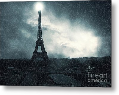 Paris Surreal Eiffel Tower Stormy Winter Snow Landscape - Eiffel Tower Winter Snow Ethereal Skies Metal Print by Kathy Fornal