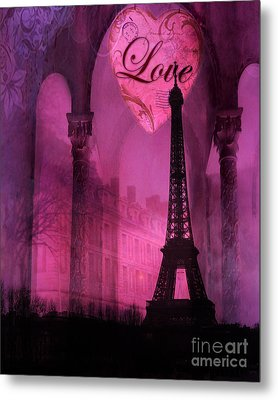 Paris Romantic Pink Fantasy Love Heart - Paris Eiffel Tower Valentine Love Heart Print Home Decor Metal Print by Kathy Fornal