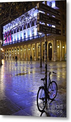 Paris Surreal Rainy Night Scene With Bicycle - Palais Royal Theatre District Rainy Night And Bicycle Metal Print by Kathy Fornal