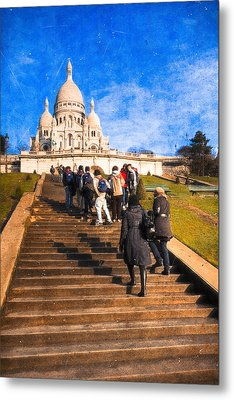 Paris - The Long Climb To Sacre Coeur Metal Print by Mark E Tisdale