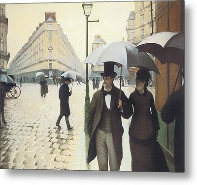 Paris The Place De L'europe On A Rainy Day Metal Print by Gustave Caillebotte