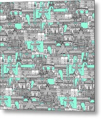 Paris Toile Aquamarine Metal Print by Sharon Turner
