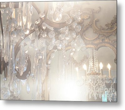 Paris Dreamy White Gold Ghostly Crystal Chandelier Mirrored Reflection - Paris Crystal Chandeliers Metal Print by Kathy Fornal