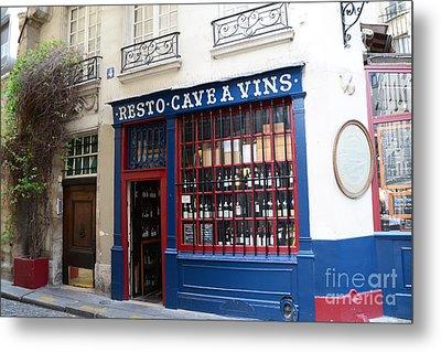 Paris Wine Shop Resto Cave A Vins - Paris Street Architecture Photography Metal Print