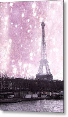 Paris Winter Eiffel Tower - Dreamy Surreal Paris In Pink Eiffel Tower Snow Winter Landscape Metal Print by Kathy Fornal