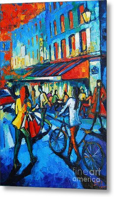 Parisian Cafe Metal Print by Mona Edulesco