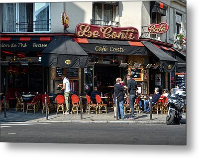 Parisian Cafe Le Conti Metal Print by RicardMN Photography