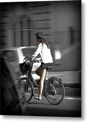 Parisian Girl Cyclist Metal Print