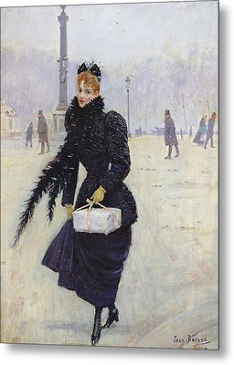 Parisian Woman In The Place De La Concorde, C.1890 Oil On Canvas Metal Print by Jean Beraud