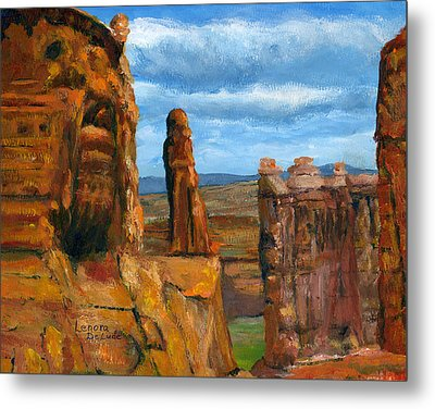 Metal Print featuring the painting Park Avenue Arches National Park by Lenora  De Lude