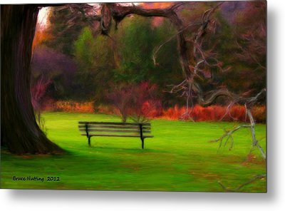 Metal Print featuring the painting Park Bench by Bruce Nutting