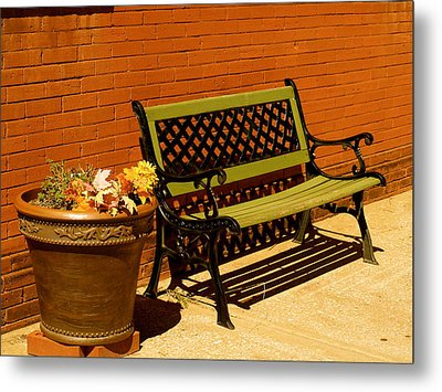Park Bench Metal Print by Roseann Errigo