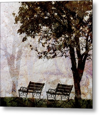 Park Benches Square Metal Print by Carol Leigh