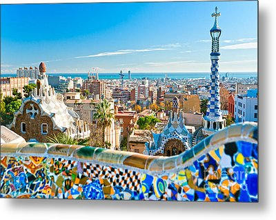 Park Guell - Barcelona Metal Print by Luciano Mortula