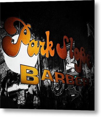 Park Slope Barber Metal Print by Natasha Marco