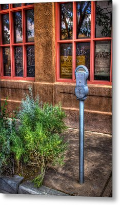 Metal Print featuring the photograph Parking Meter On Sidewalk by Dave Garner