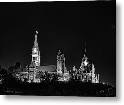 Metal Print featuring the photograph Parliament From The Park - Bw by Robert Culver