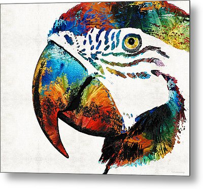 Parrot Head Art By Sharon Cummings Metal Print by Sharon Cummings