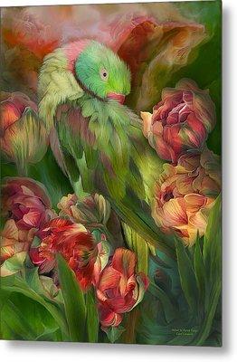 Parrot In Parrot Tulips Metal Print by Carol Cavalaris