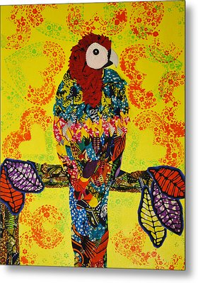 Metal Print featuring the tapestry - textile Parrot Oshun by Apanaki Temitayo M
