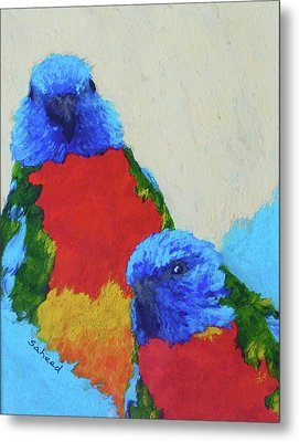 Metal Print featuring the painting Parrot Pair by Margaret Saheed