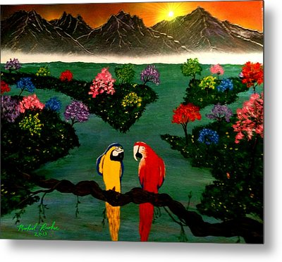Metal Print featuring the painting Parrots by Michael Rucker