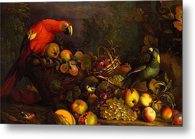 Metal Print featuring the digital art Parrots by Tobias Stranover