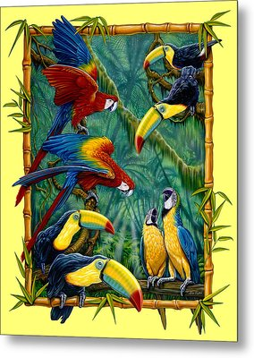 Parrots Yellow Metal Print