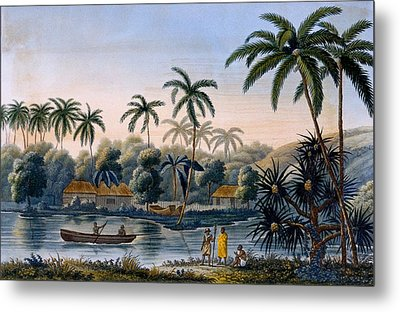 Part Of The Village Of Matavae, Coconut Metal Print