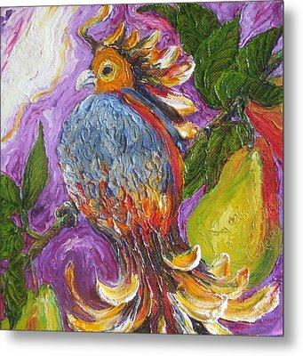 Partridge In A Pear Tree Metal Print by Paris Wyatt Llanso