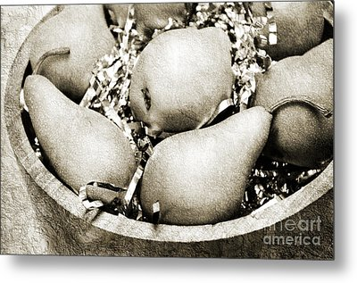 Party Pears Bw Metal Print by Andee Design