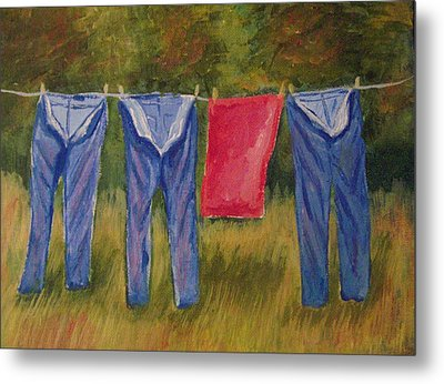 Pa's Trousers Metal Print by Belinda Lawson