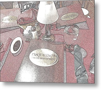 Metal Print featuring the digital art Pasqualino's Restaurant Setup by Angelia Hodges Clay