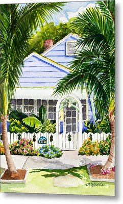 Pass-a-grille Cottage Watercolor Metal Print by Michelle Wiarda