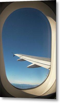Passenger Airplane In Flight Metal Print
