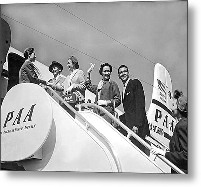Passengers Board Panam Clipper Metal Print by Underwood Archives