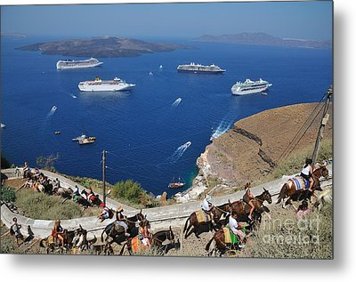 Passengers From Cruise Ships On The Way To Fira City Metal Print