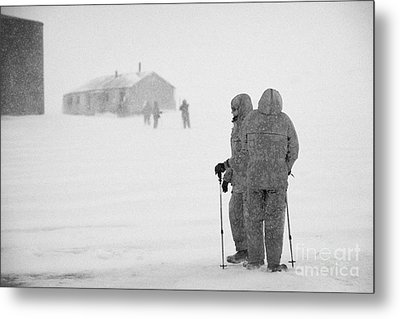 Passengers From Expedition Ship On Shore Excursion To Whaler's Bay Antarctica Metal Print by Joe Fox