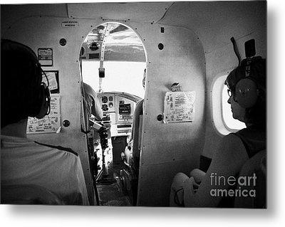 Passengers On Board Flight In A Dehaviland Dhc-3 Otter Seaplane At The Dry Tortugas Florida Keys Usa Metal Print by Joe Fox