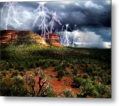 Passing Storm Near Sedona Arizona Metal Print by Ric Soulen