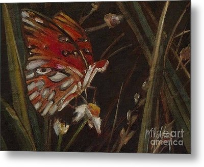 Passion Butterfly - Gulf Fritillary Metal Print by Mary Hubley