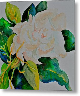 Metal Print featuring the painting Passionate Gardenia by Beverley Harper Tinsley