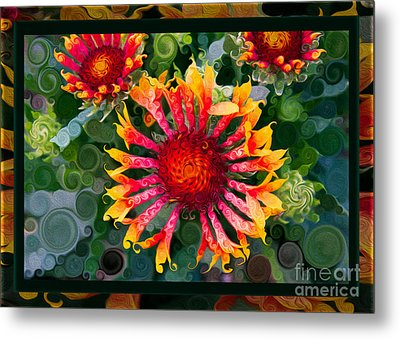 Passionate Pinwheels And Blooming Abstract Flower Art Metal Print by Omaste Witkowski