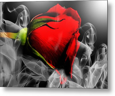 Passionate Red Hot Smoky Rose Metal Print by Georgiana Romanovna