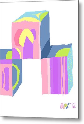 Metal Print featuring the painting Pastel Cubes by Anita Dale Livaditis