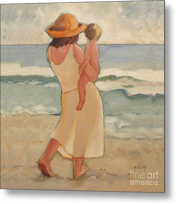 Pastel Morning Beach Walk With Mother And Baby Metal Print by Mary Hubley