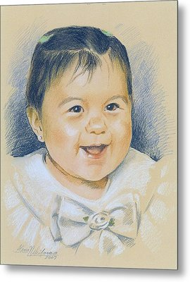 Pastel Portrait Of A Girl In A White Dress. Commission. Metal Print